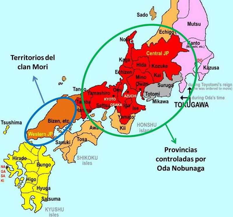 mapa japon sengoku 1582