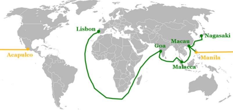 mapa imperio portugues siglo 16