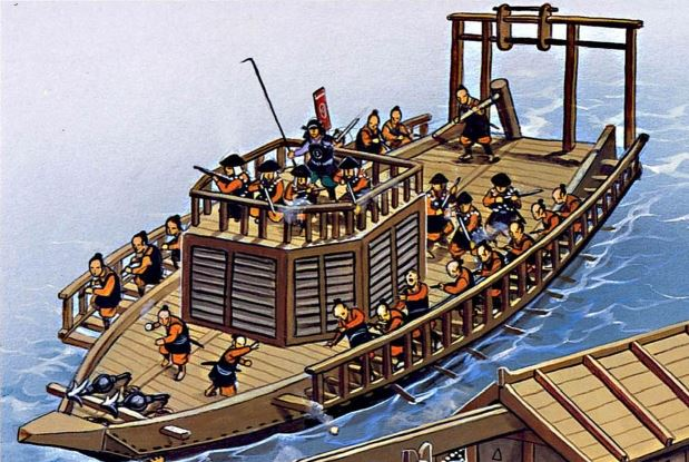 wako ashigaru nave barco samurai sengoku